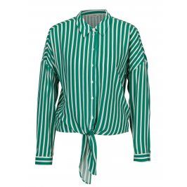 Zeleno-bílá pruhovaná košile se zavazováním Miss Selfridge