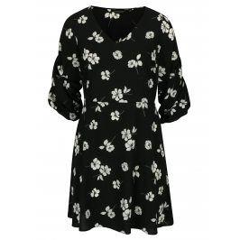 Černé květované šaty s řasením na rukávech Dorothy Perkins Curve