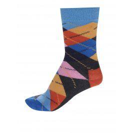Šedo-modré unisex kárované ponožky Happy Socks Argyle