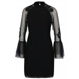 Černé šaty s tylovými volánovými rukávy Little Mistress
