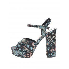 Černé vzorované sandálky na platformě a vysokém podpatku Miss Selfridge