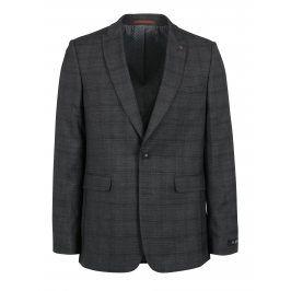 Šedé kostkované oblekové skinny sako Burton Menswear London