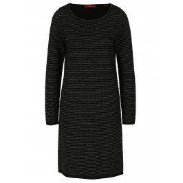 Černé třpytivé svetrové pruhované šaty s.Oliver