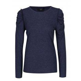 Tmavě modré žíhané tričko s řasením na ramenou Jacqueline de Yong Fanny
