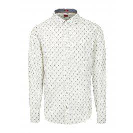 Krémová pánská vzorovaná slim fit košile s.Oliver