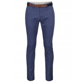 Modré slim fit chino kalhoty s páskem Selected Homme Hyard