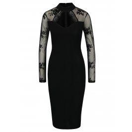 Černé pouzdrové šaty s průstřihem v dekoltu a průsvitným rukávem AX Paris