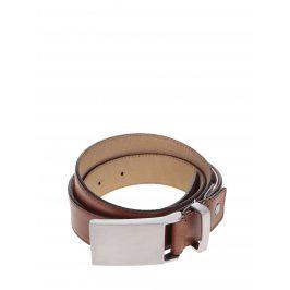Hnědý kožený pásek s kovovou sponou Selected Homme Belt
