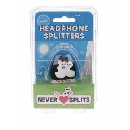 Černá rozdvojka na sluchátka ve tvaru tučňáků Gift Republic