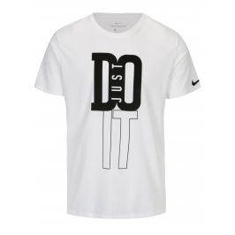 Bílé pánské funkční tričko s černým potiskem Nike
