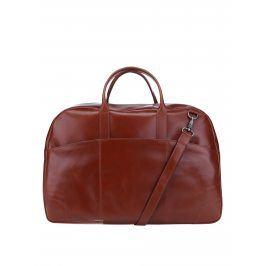 Hnědá pánská kožená cestovní taška s kapsami Royal RepubliQ