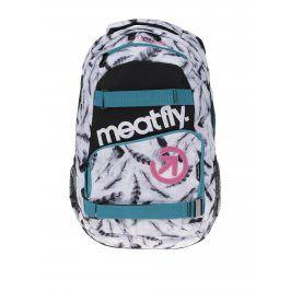 Bílý dámský batoh s motivem pírek Meatfly Exile 2 22 l