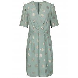 Mentolové puntíkované šaty Selected Femme Valora
