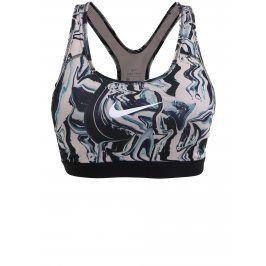 Starorůžovo-černá vzorovaná dámská sportovní podprsenka Nike Classic Painted Marble