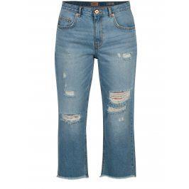 Světle modré zkrácené džíny s potrhaným efektem ONLY Chad