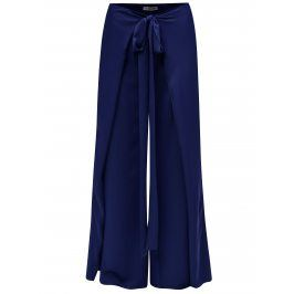 Modré volné kalhoty se zavazováním Alexandra Ghiorghie Bent
