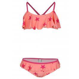 Růžové holčičí vzorované dvojdílné plavky name it Zu Jingle