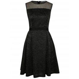 Černé vzorované šaty s průsvitnou horní částí Darling Claris