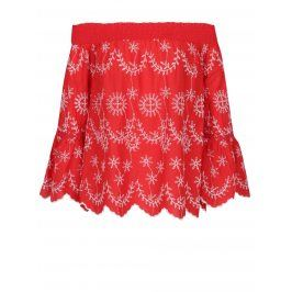 Červená halenka se spadlými rameny a krajkovými detaily Miss Selfridge