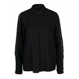 Černá košile s krajkou na rukávech VERO MODA Banja