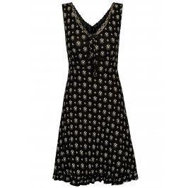 Černá vzorovaná noční košilka s krajkovými detaily M&Co