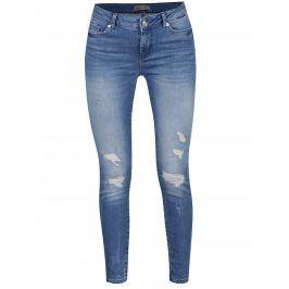 Modré dámské slim fit džíny s potrhaným efektem VERO MODA Seven