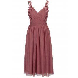 Růžové šaty s překládaným výstřihem Little Mistress