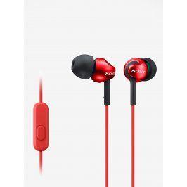 Červená špuntová sluchátka s mikrofonem Sony