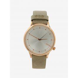 Dámské hodinky ve zlaté barvě s koženým páskem Komono Estelle