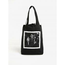 Černá plátěná taška s nášivkou retro lidí La femme MiMi Teta Věra no.3