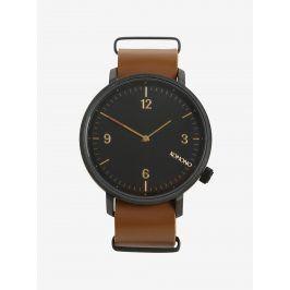 Černé unisex hodinky s hnědým koženým páskem Komono Magnnus