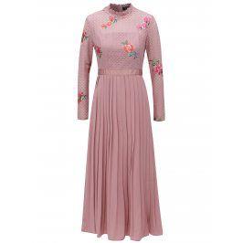 Tmavě růžové šaty s plisovanou sukní Little Mistress