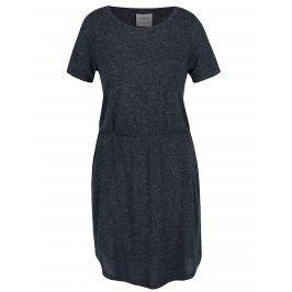 Tmavě modré žíhané šaty s příměsí lnu VERO MODA Lua