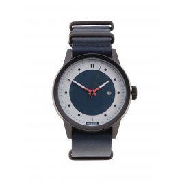 Černé pánské hodinky s tmavě modrým koženým páskem HYPERGRAND