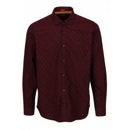 Vínová pánská vzorovaná regular fit košile s.Oliver