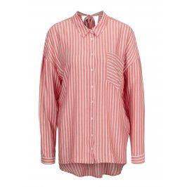 Bílo-červená pruhovaná volná košile s mašlí na zádech ONLY Bluff