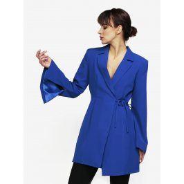 Modré zavinovací šaty s průstřihem na zádech MISSGUIDED