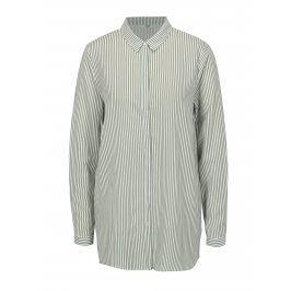 Bílo-zelená pruhovaná oversize košile ONLY Glory