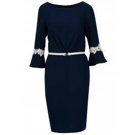 Tmavě modré šaty s páskem Paper Dolls