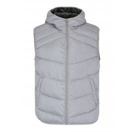 Světle šedá prošívaná vesta s kapucí Jack & Jones Landing