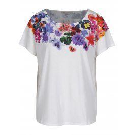 Bílé volné tričko s potiskem Desigual Aglaia