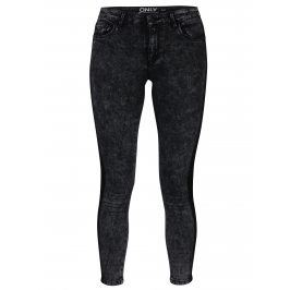 Tmavě šedé skinny džíny s vyšisovaným efektem ONLY Rain