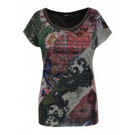 Šedo-zelené vzorované tričko s krátkým rukávem Desigual Denes