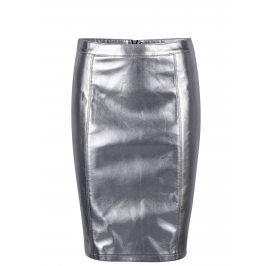 Koženková pouzdrová sukně ve stříbrné barvě ONLY Ann