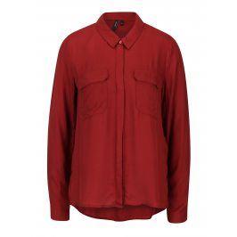Cihlová košile s náprsními kapsami VERO MODA Koko