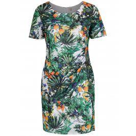 Bílo-zelené šaty s tropickým vzorem La Lemon
