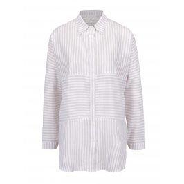Krémovo-béžová pruhovaná volná košile Apricot