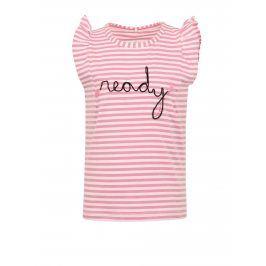 Bílo-růžové holčičí pruhované tričko s výšivkou name it Fibine
