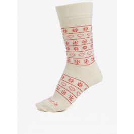 Červeno-krémové unisex ponožky se vzorem Fusakle Zima na dedine