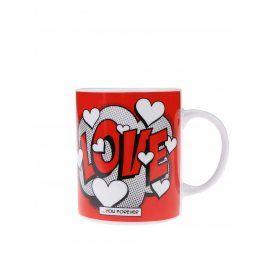 Červený porcelánový hrnek s potiskem Gift Republic Love
